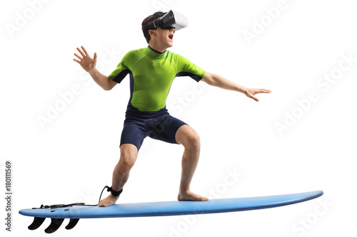 Teenage boy with a VR headset surfing Poster