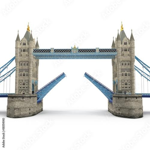 Famous Tower Bridge London, UK on white. 3D illustration