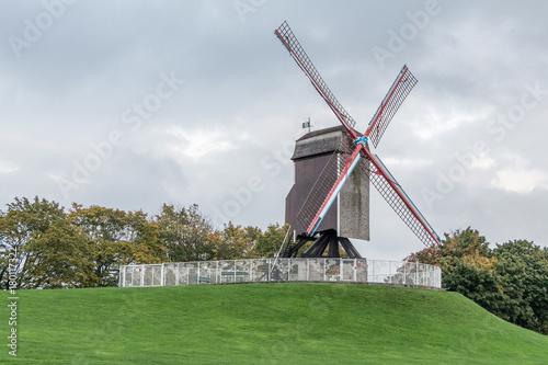 Fotobehang Brugge Windmill in Bruges (Belgium)