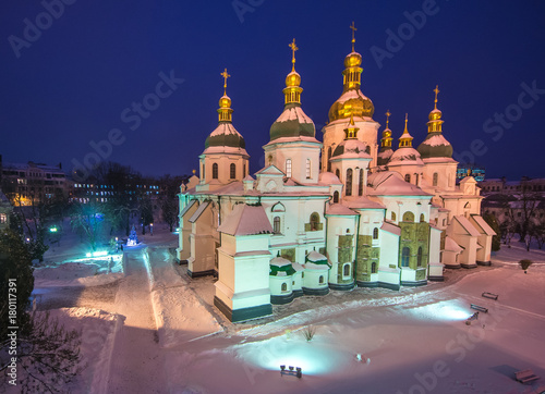 In de dag Kiev Kiev - capital of Ukraine Sofia Cathedral at evening time