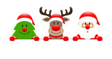 Christmas Tree, Rudolph Red Star & Santa Holding Banner