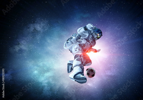 Astronaut play soccer game