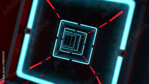 3d render of futuristic tunnel with light. Abstract background, business, sci-fi, technology, transportation or science concept.
