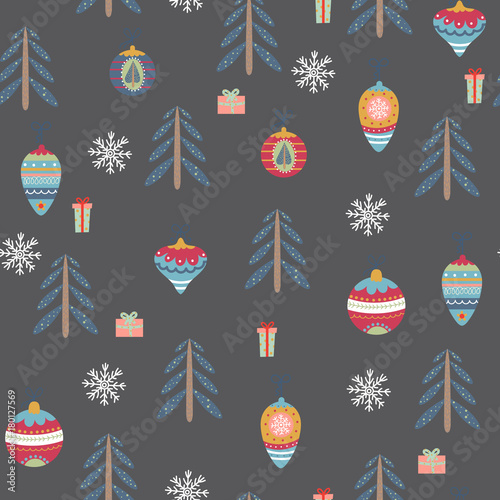 Cotton fabric Seamless pattern with christmas symbols