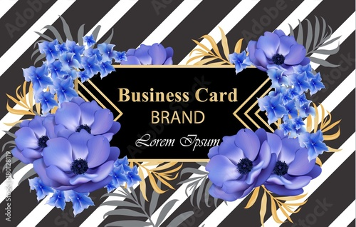Luxury card with flowers Vector. Beautiful illustration for brand book, business card or poster. Place for texts