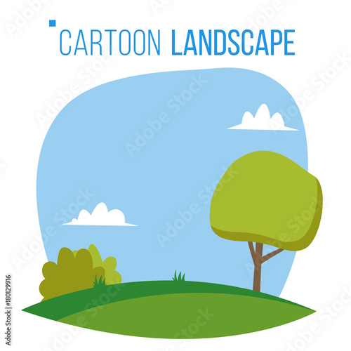 Fotobehang Wit Cartoon Landscape Background Vector. Spring, Summer Season Meadow Landscape. Tree, Green Field, Clouds. Cartoon Flat Illustration