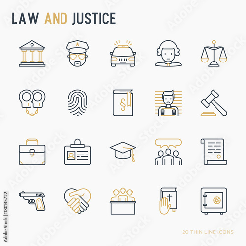 Naklejka Law and justice thin line icons set: judge, policeman, lawyer, fingerprint, jury, agreement, witness, scales. Vector illustration.