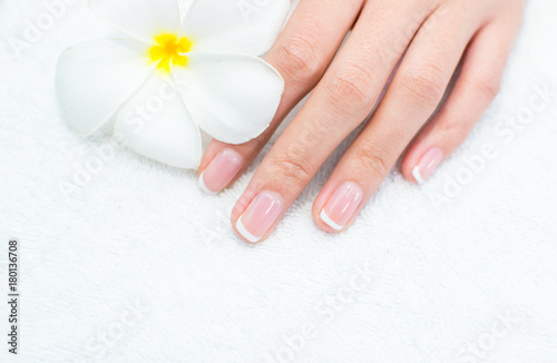 Fotobehang Manicure Beautiful woman's nails with beautiful french manicure