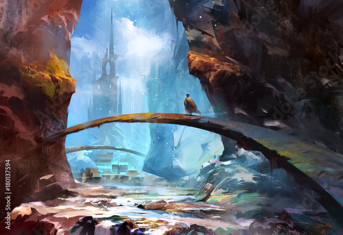 malowany-gorski-krajobraz-z-zamkiem-i-tra