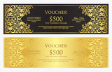 Luxury black and golden gift certificate with vintage ornament pattern