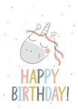 Happy Birthday card with cute unicorn in doodle style, vector illustration