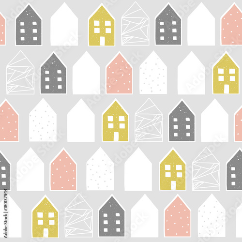 Cute nordic pattern with houses, vector illustration - 180137944