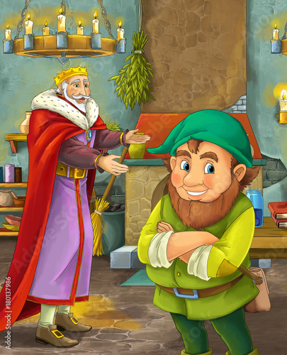 cartoon scene with happy king standing the kitchen and talking with a dwarf illustration for children - 180137986