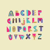 Vector colorful funny trendy uppercase alphabet. Display font for posters, music placards and ect.