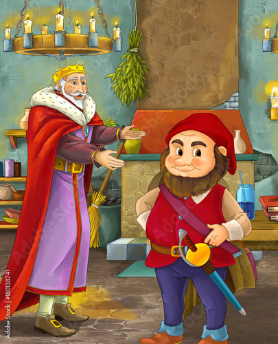 cartoon scene with happy king standing the kitchen and talking with a dwarf illustration for children - 180138741