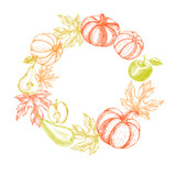 Thanksgiving Background. Wreath with Ink hand drawn pumpkins, pears, apples and maple leaves. Autumn harvest elements composition. Vector illustration. - 180140525