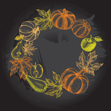 Thanksgiving Background. Wreath with Ink hand drawn pumpkins, pears, apples and maple leaves. Autumn harvest elements composition. Vector illustration. - 180140577