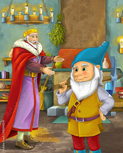 cartoon scene with happy king standing the kitchen and talking with a dwarf illustration for children - 180140541
