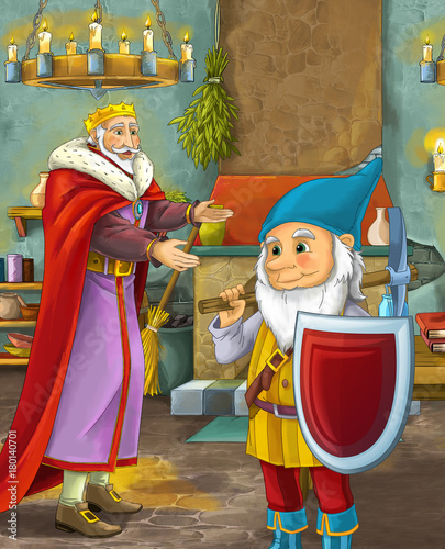 cartoon scene with happy king standing the kitchen and talking with a dwarf illustration for children - 180140701