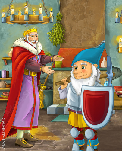cartoon scene with happy king standing the kitchen and talking with a dwarf illustration for children - 180140780