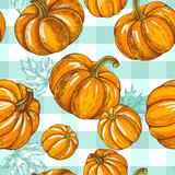 Decorative seamless pattern with Ink hand drawn pumpkins and maple leaves. Autumn harvest elements texture. Vector illustration. - 180140932