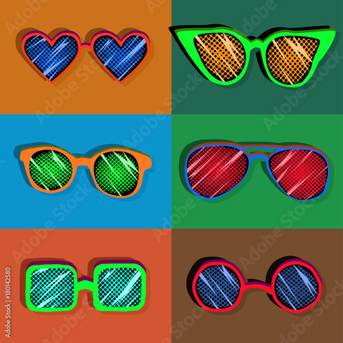Canvas Pop Art retro set of stylized pop art colorful sunglasses, seamless pattern