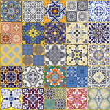 Azulejos tiles vector seamless pattern collection - 180142763
