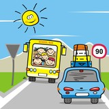 Bus and car with happy kids on the road, funny illustration, vector icon.