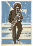 Saxophonist in the blue room. An young sax man playing saxophone. An hand drawn vector.
