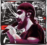 Singer. Portrait of an unknown bearded vocalist singing an song. Hand drawn vector illustration.