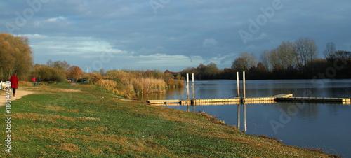 Fotobehang Pier Evening at the lake of Schulen, Belgium.1