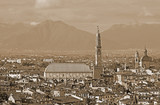 VICENZA city in Italy with Sepia Effect and the famous monument - 180152364