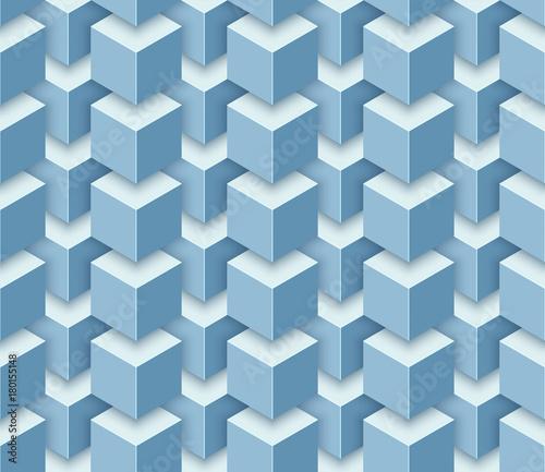 Tapeta Vector seamless geometric pattern of 3d cubes.