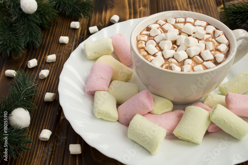 Foto op Canvas Chocolade Hot chocolate with marshmallows on the white plate