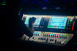 Sound engineer working at mixing panel in the boutique recording in pub - 180156397