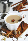 Traditional indian masala chai tea with spices - 180157998