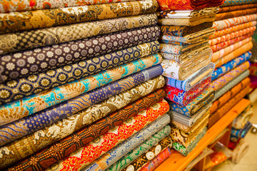 Various Fabric Displayed In Shop