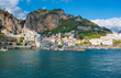 Quadro Amalfi, Italy - The awesome historic center of the touristic town in Campania region, Gulf of Salerno, southern Italy. This small town gives its name to the Amalfi Coast.
