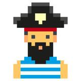Pixel Art Pirates Art Cartoon Retro Game Style Set Wall Sticker