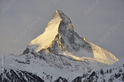 Fotobehang Grijs Zermatt Switzerland and The Matterhorn 3