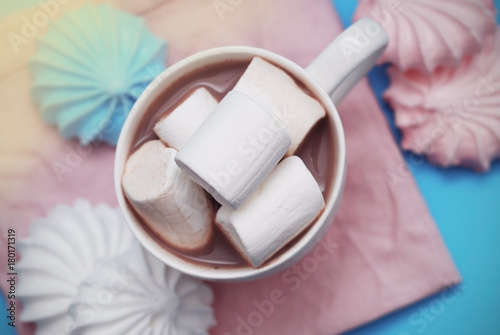 Pink and White Marshmallows zephyr with Cup of Coffee or Cocoa on a pink Napkin - 180171319