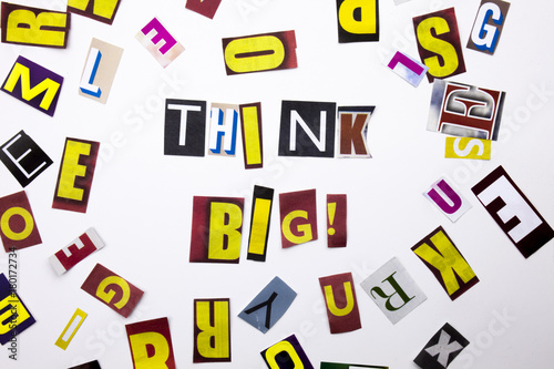 A word writing text showing concept of Think Big made of different magazine newspaper letter for Business case on the white background with copy space
