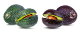 Fresh avocado fruits  isolated on white background, with clipping path