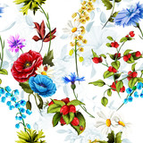 Seamless background pattern poppy, cornflowers, lily of the valley, camomile, roses with leaves and ladybird on white. Hand drawn, vector stock.
