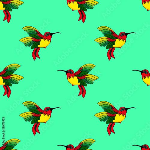 Abstrakcjonistyczny bezszwowy hummingbird wzór dla dziewczyn lub chłopiec. Twórczy tło z koliber, colibri. Śmieszne tapety na tekstylia i tkaniny. Moda w stylu colibri. Kolorowy jasny obraz