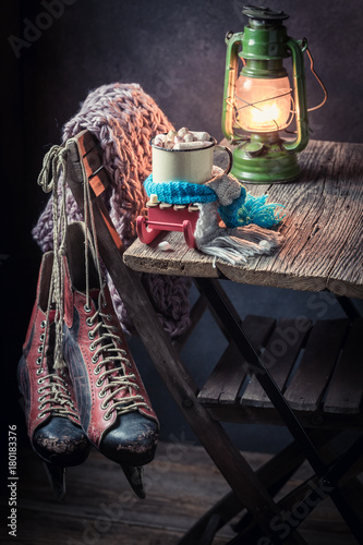 Foto op Canvas Chocolade Warming up hot chocolate with blue scarf for Christmas
