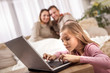 family, children, technology and home concept