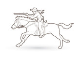 Cowboy on horse, aiming rifle outline graphic vector - 180186796