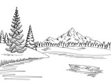 Mountain lake graphic black white landscape sketch illustration vector - 180195985
