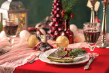 Beautiful Christmas table setting with decorations - 180209959